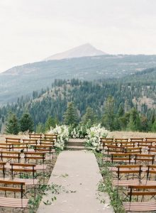 mountainside chic wedding ceremony decoration ideas