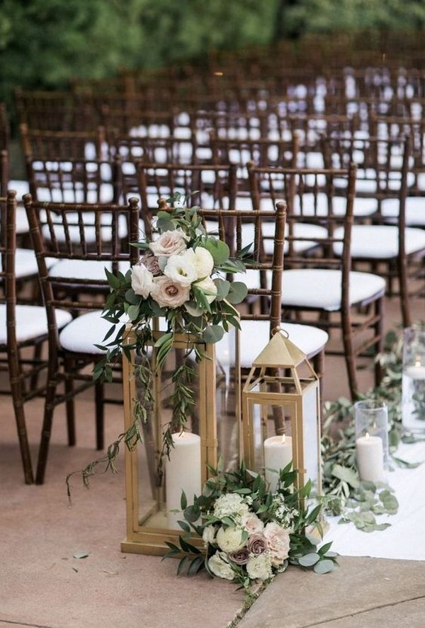 outdoor wedding aisle decoration ideas with lanterns and candles