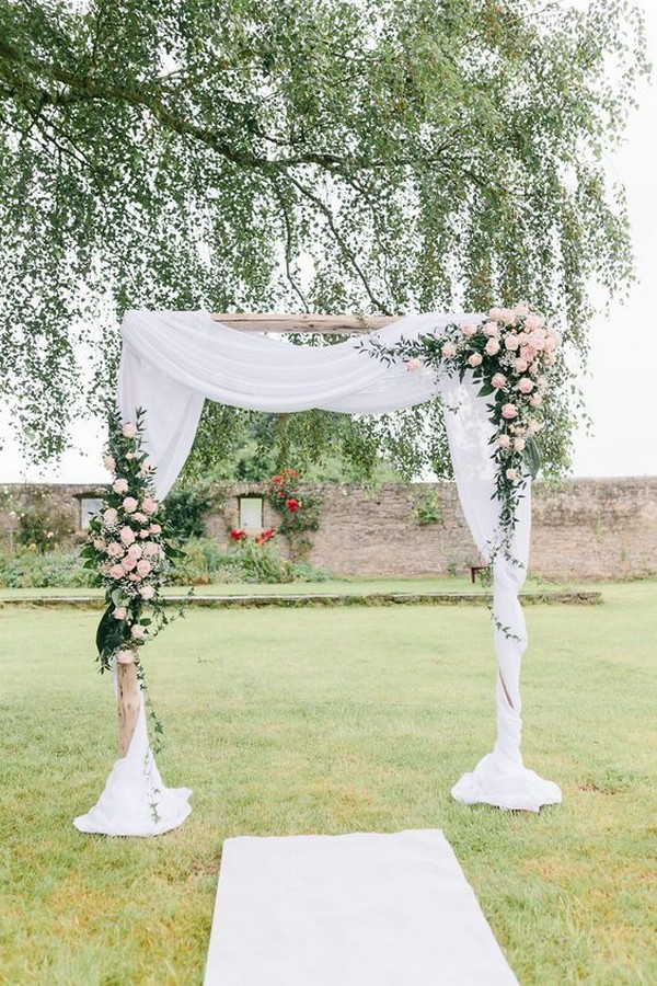 outdoor wedding arch ideas with blush pink floral