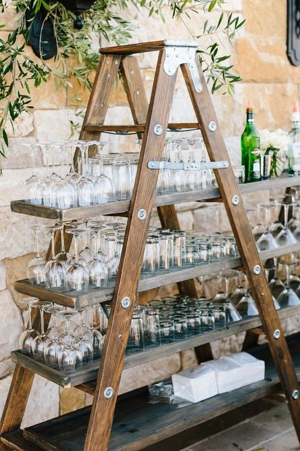 outdoor wedding drink stand ideas with vintage ladder