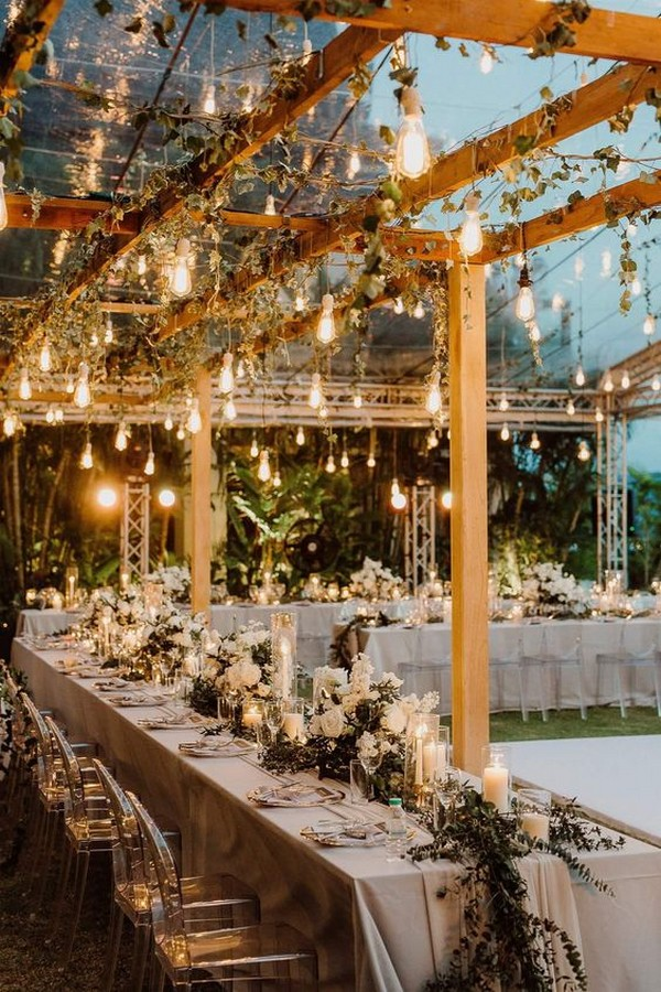 Superbe Outdoor Wedding Reception Ideas With Lights