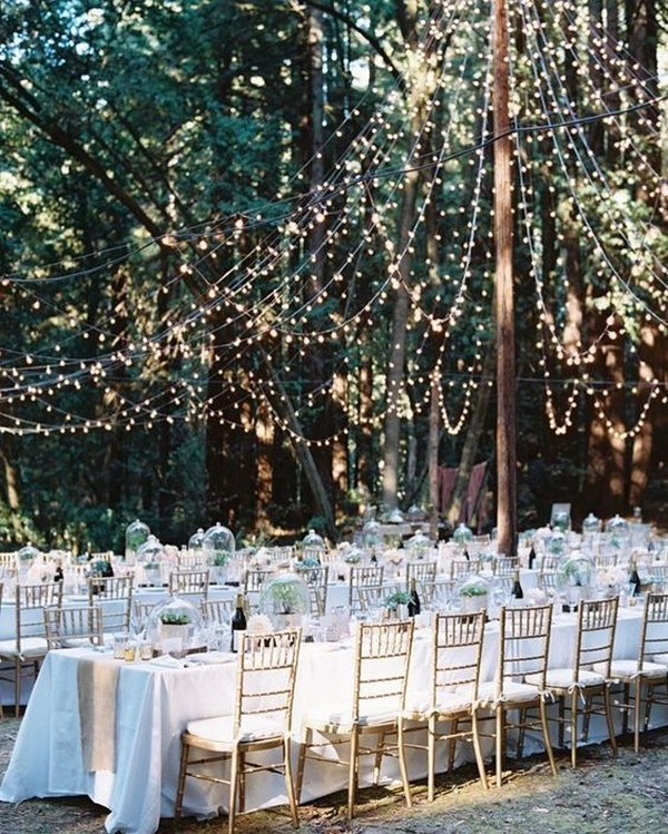 outdoor wedding reception ideas with long tables and string lights