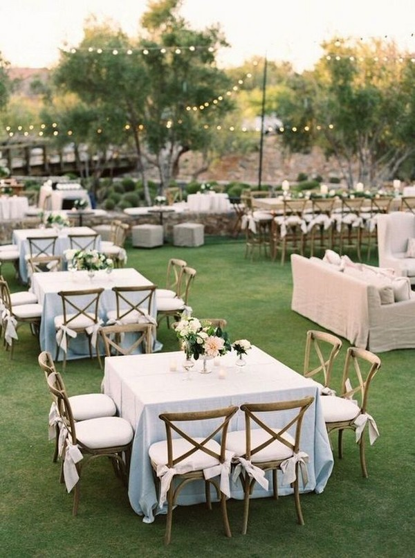 outdoor wedding reception ideas with square tables