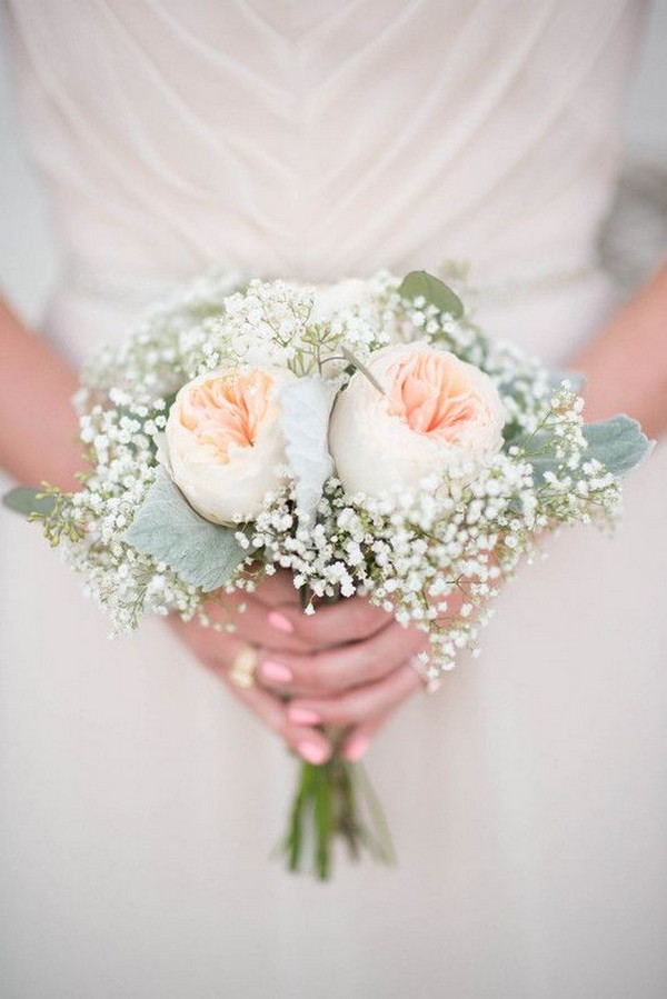 peach garden rose and baby's breath wedding bouquet