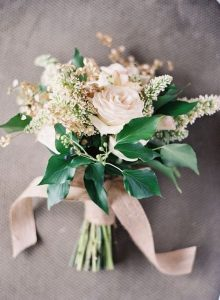 pink and greenery wedding bouquet