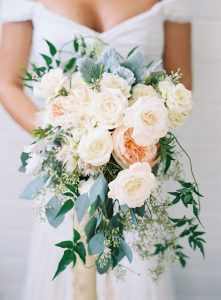 pink and ivory spring wedding bouquet