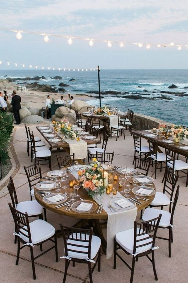 pretty beach wedding reception decoration ideas