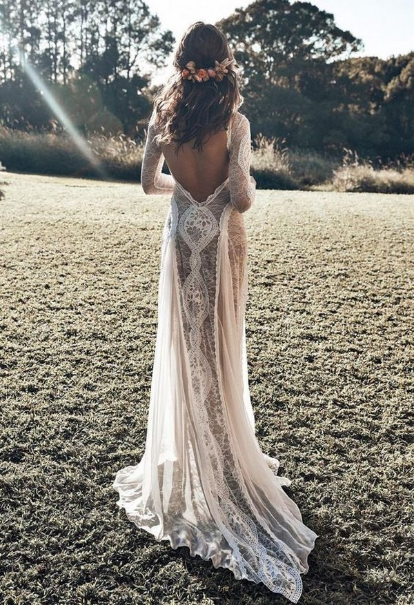 pretty lace wedding dress with open back