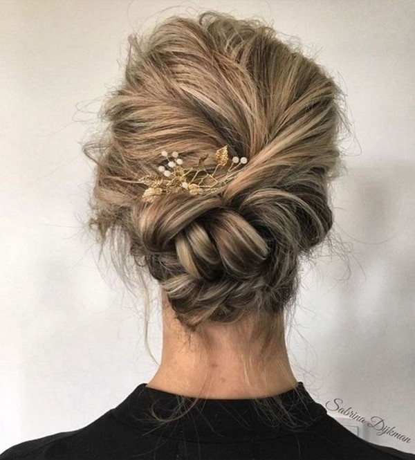 pretty messy braided updo wedding hairstyles