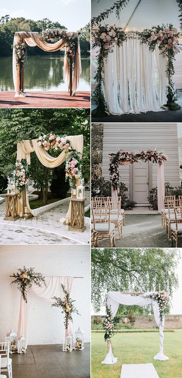 pretty shades of pink wedding arch ideas