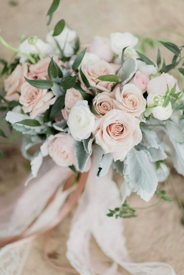 romantic blush pink rose floral wedding bouquets