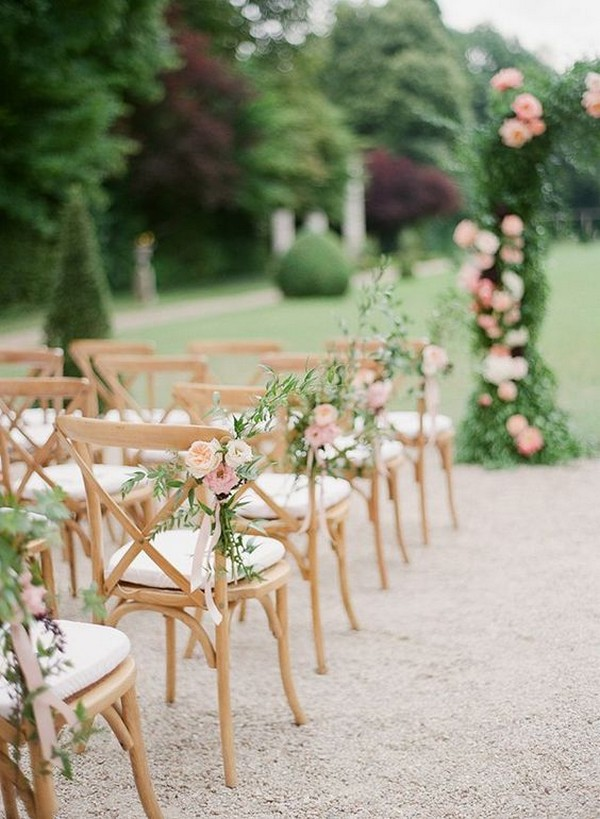 romantic outdoor wedding aisle chair decoration ideas