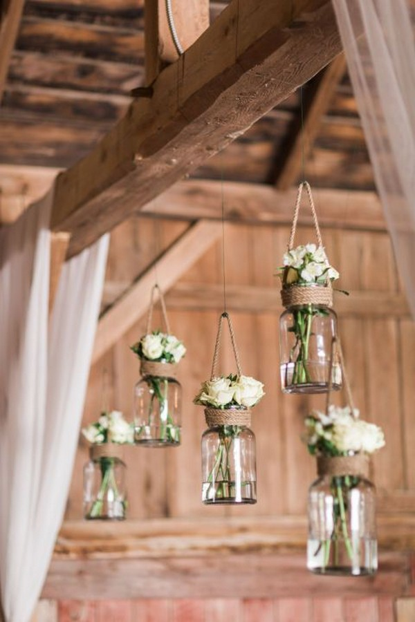 rustic wedding decoration ideas with hanging mason jars