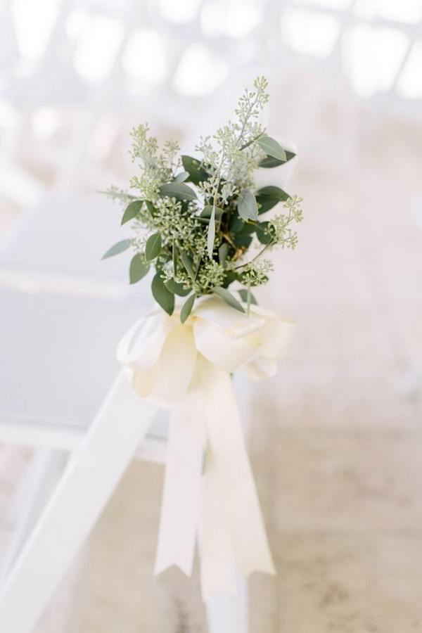 seeded eucalyptus wedding ceremony aisle ideas