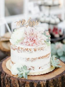semi naked single tier wedding cake