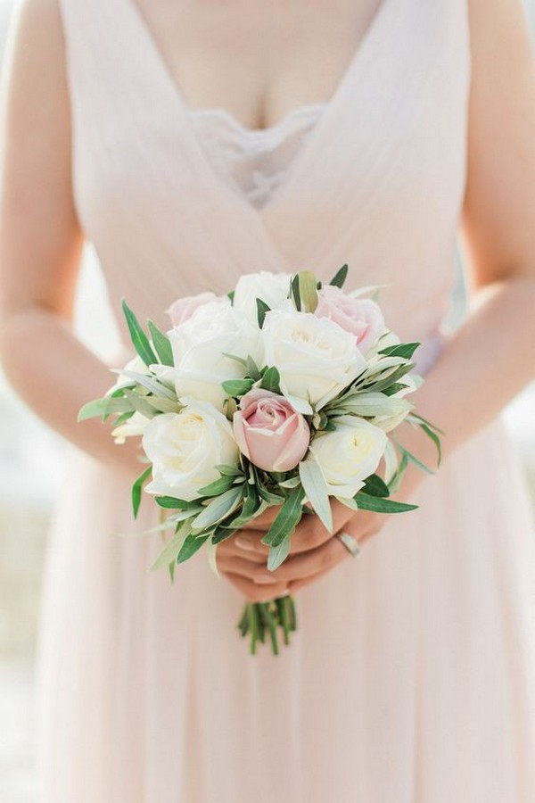 shades of pink and white small wedding bouquet