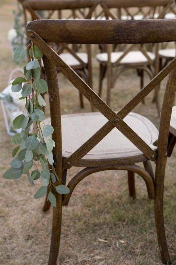 simple wedding aisle decoration ideas with eucalyptus