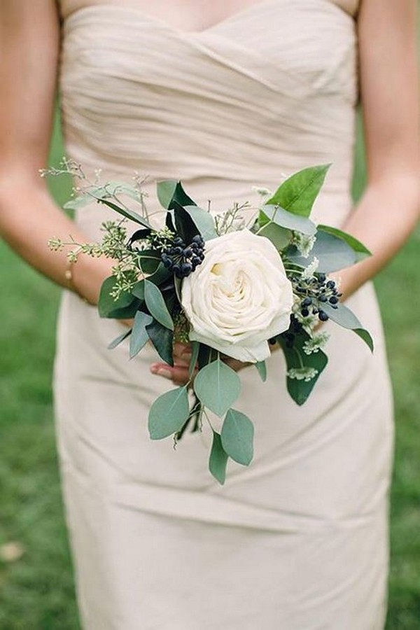 single rose pretty wedding bouquet
