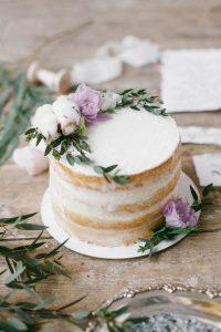single tier naked wedding cake