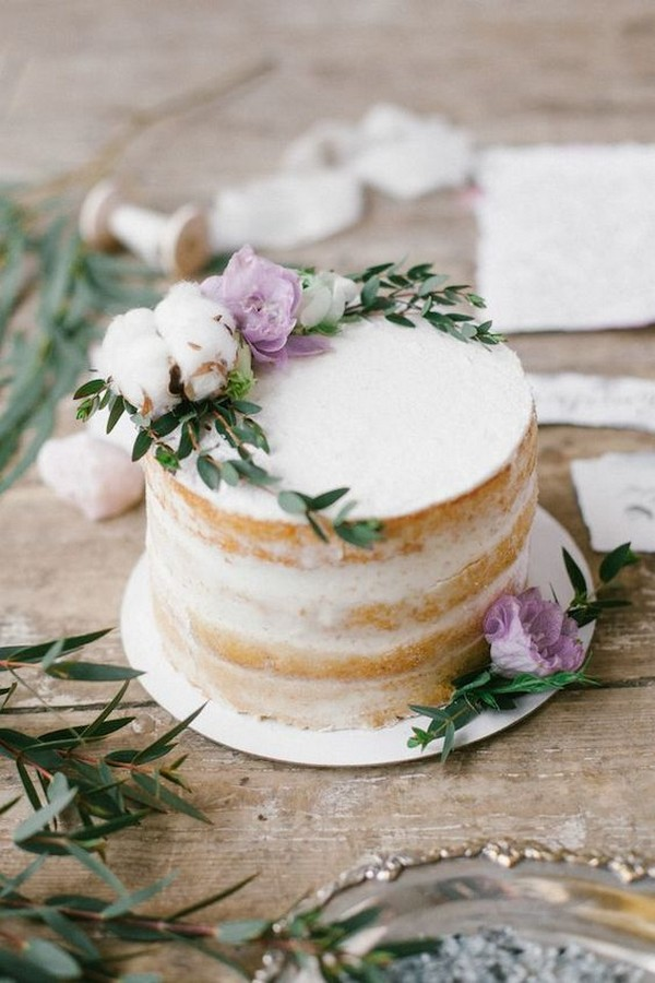 single tier naked wedding cake