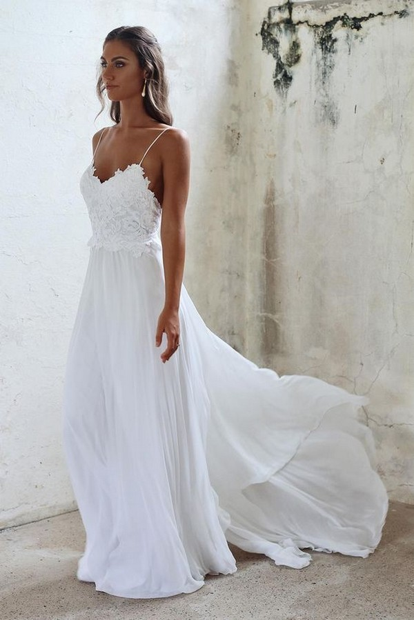spaghetti straps beach wedding dress