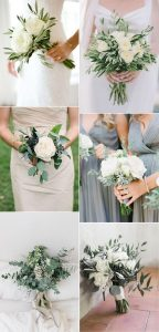 trending white and greenery minimalist wedding bouquets