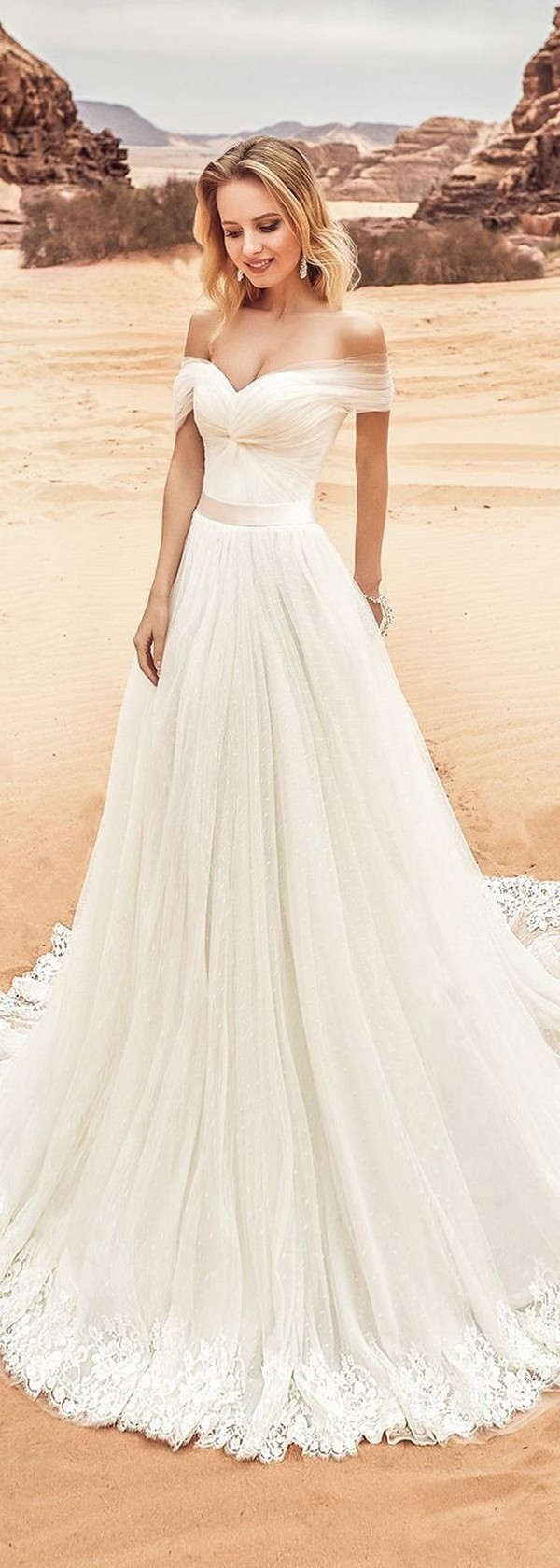 tulle off the shoulder beach wedding dress