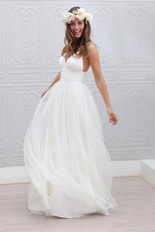 v neck simple beach wedding dress