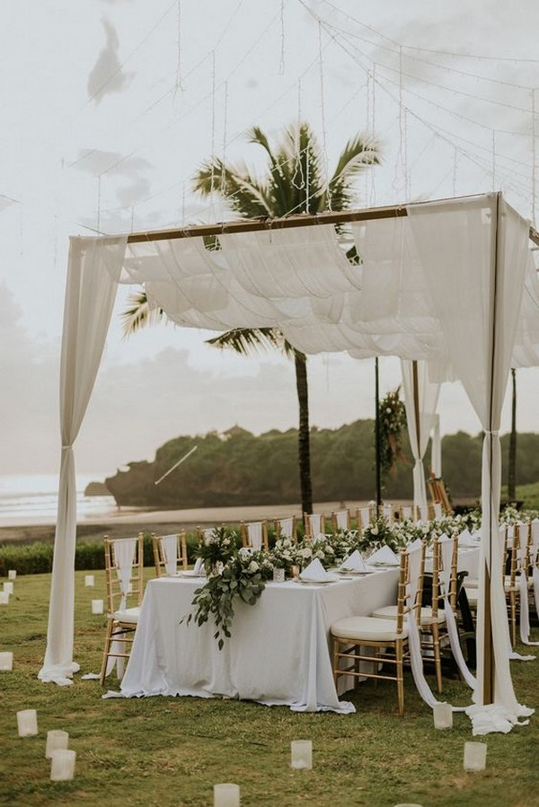 white and greenery beach wedding reception ideas