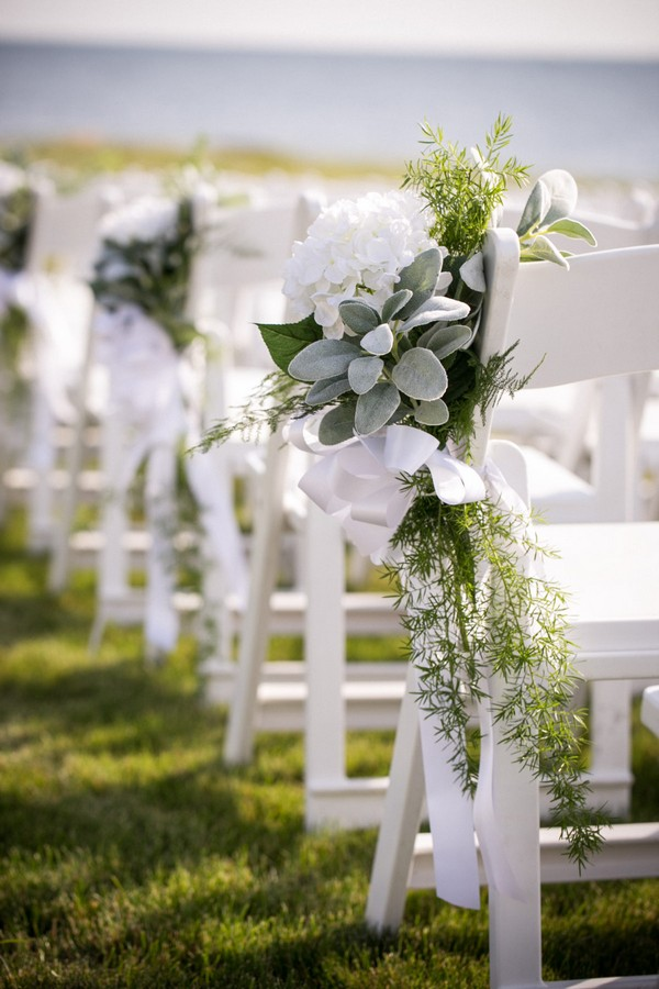 white and sage green wedding aisle decoration ideas
