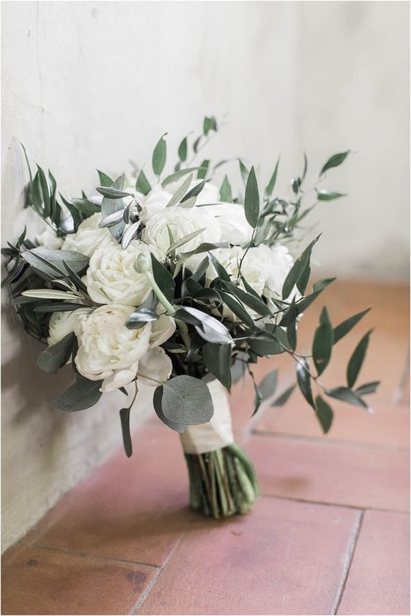 white peonies and olive leaf wedding bouquet