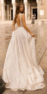 Berta deep v neck sequin wedding dress back view Style 19-113