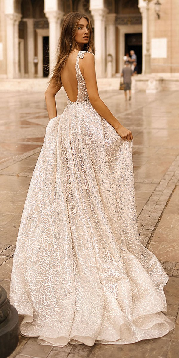 Berta deep v neck sequin wedding dress back view Style 19-113