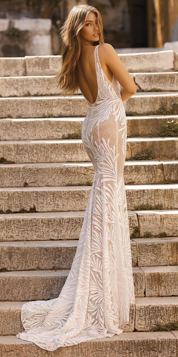 Berta deep v neck sheath wedding dress back view Style 19-119