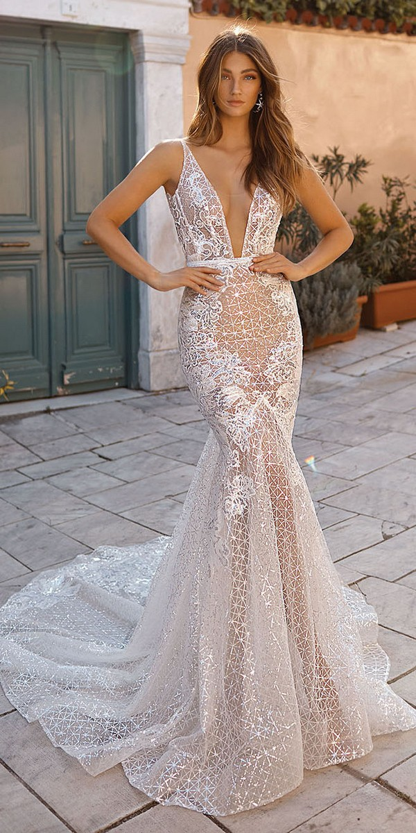 Berta sheath glitter wedding dress 2019 Style 19-111