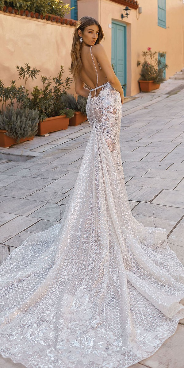 Berta sheath glitter wedding dress back view 2019 Style 19-111