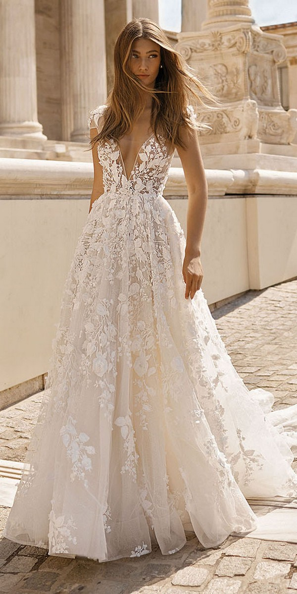 Berta vintage floral wedding dress 2019 collection Style 19-112