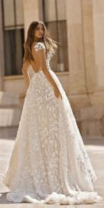 Berta vintage floral wedding dress 2019 collection back view Style 19-112