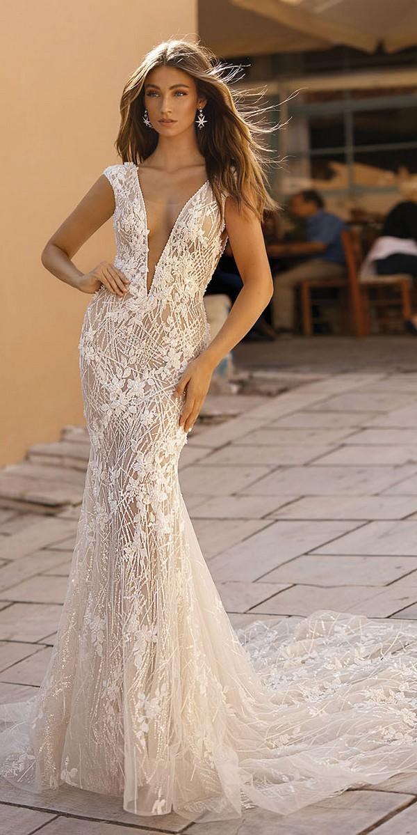Berta vintage v neck floral wedding dress Style 19-114