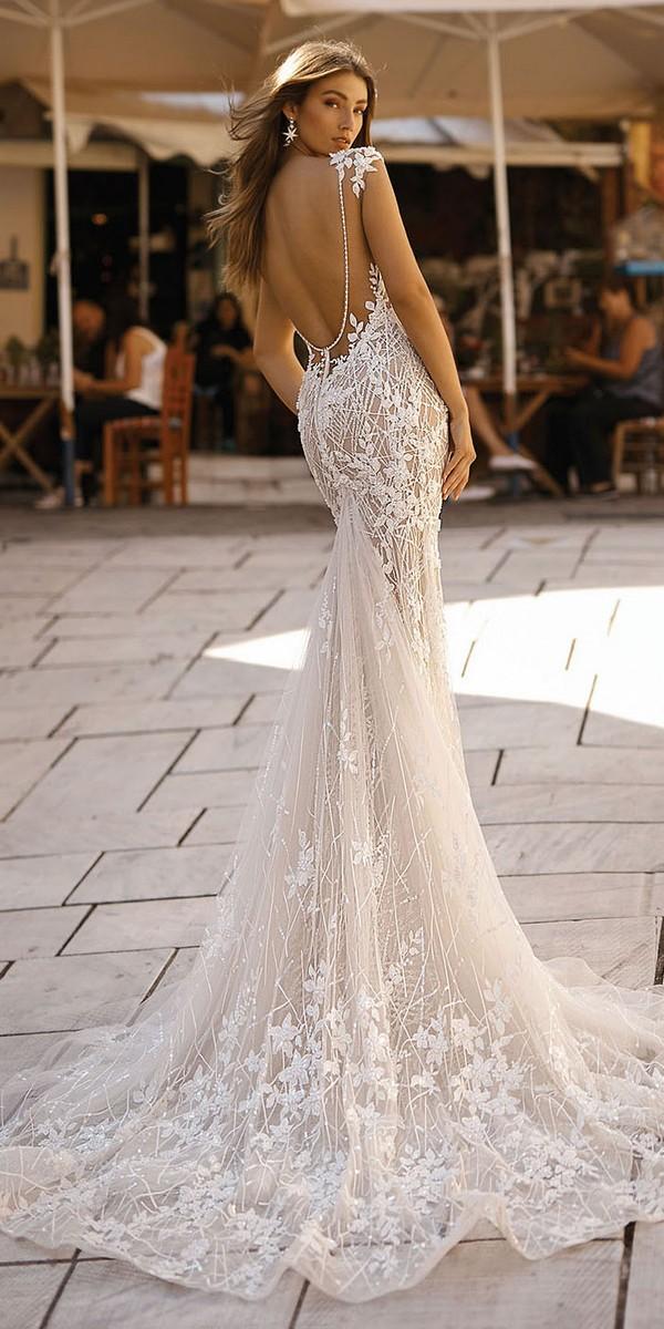 Berta vintage v neck floral wedding dress back view Style 19-114