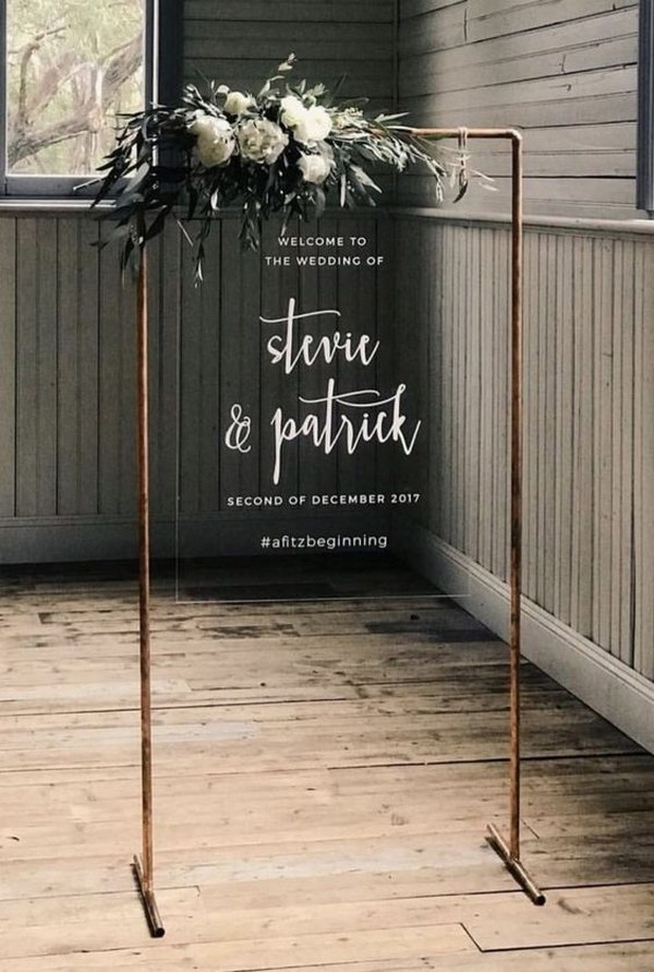 acrylic chic modern wedding sign ideas
