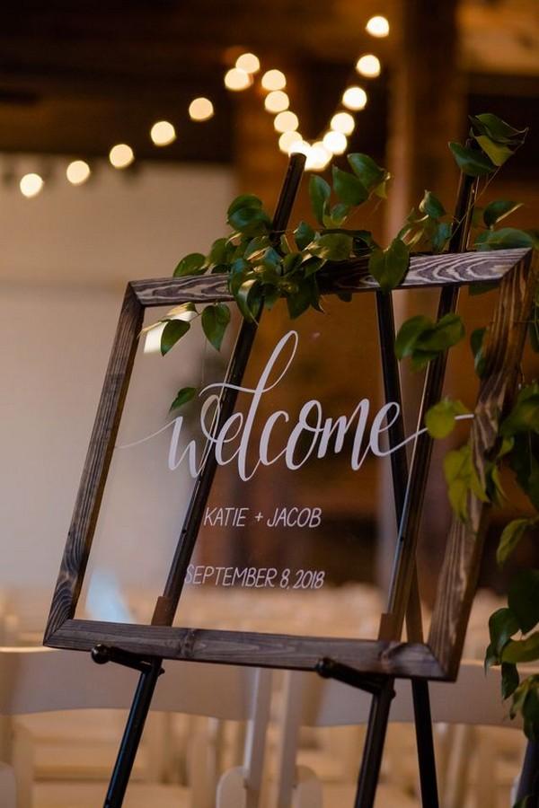 acrylic frame wedding welcome sign