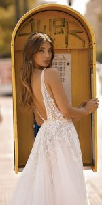berta beaded v neck wedding dress back view 2019 Style 19-109