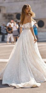 berta off the shoulder wedding dress Style 19-102 back view