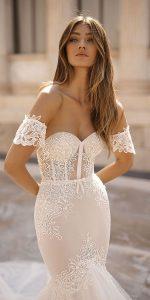 berta sheath lace wedding dress with sleeves Style 19-107