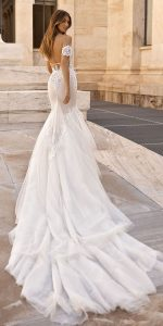 berta sheath lace wedding dress with sleeves back view Style 19-107