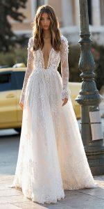 berta v neck wedding dress with long sleeves Style 19-108
