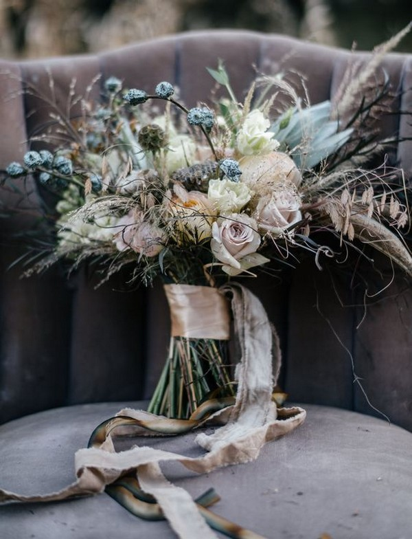 blue and neutral boho wedding bouquet