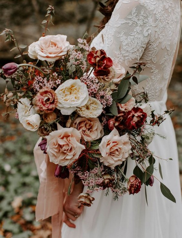 blush and burgundy fall wedding bouquet