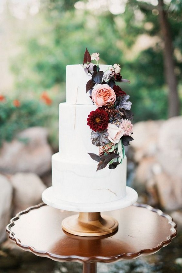 blush and burgundy fall wedding cake